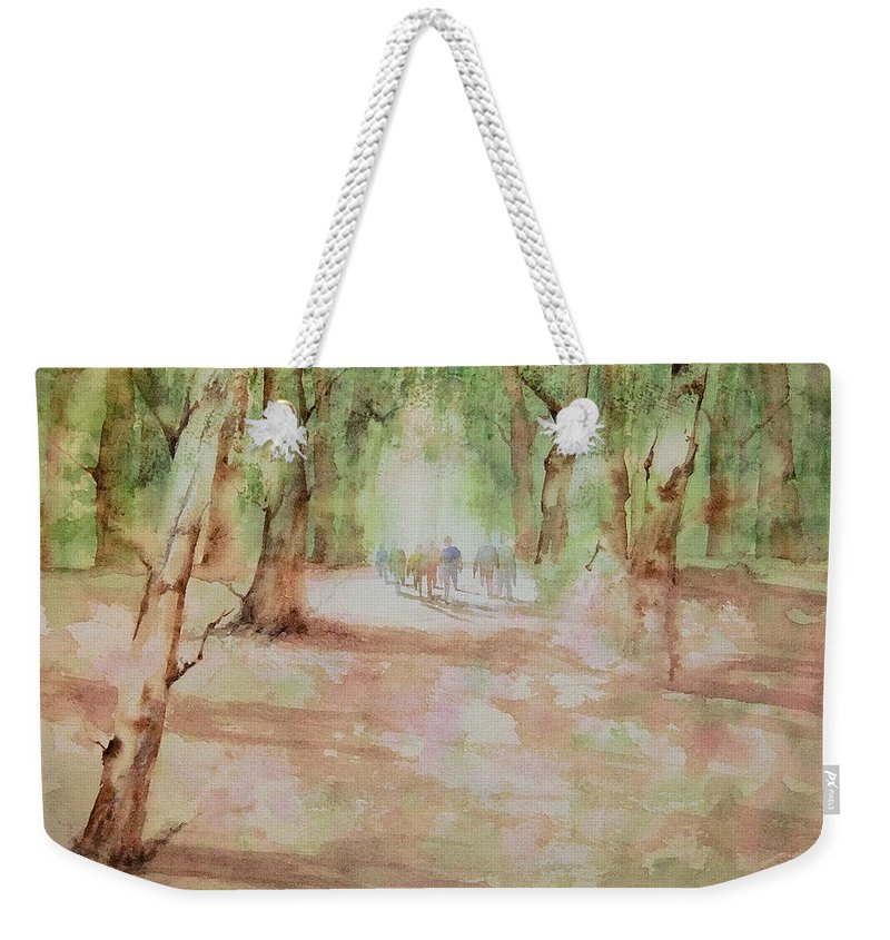 Watercolor Weekender Tote Bag featuring the painting Nature At The Nature Center by Debbie Lewis