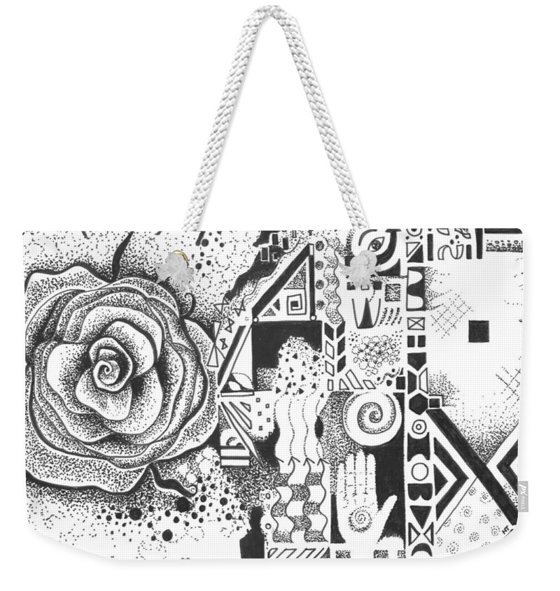 Abstract Weekender Tote Bag featuring the drawing Nature Rules Aka That Which Remains by Helena Tiainen