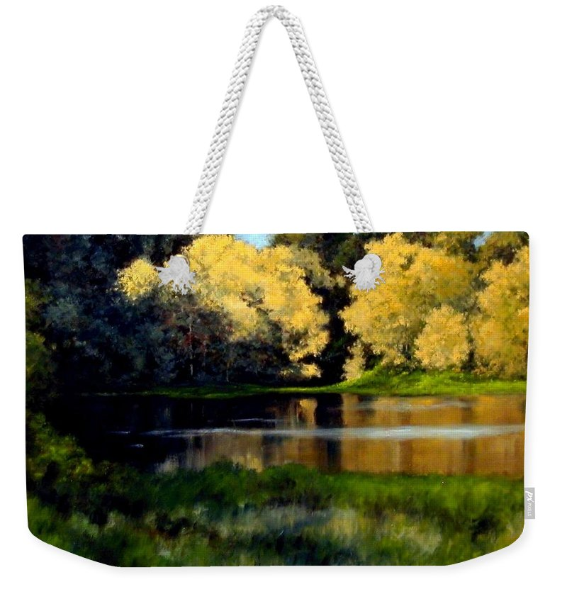 Landscape Weekender Tote Bag featuring the painting Nature Walk by Jim Gola