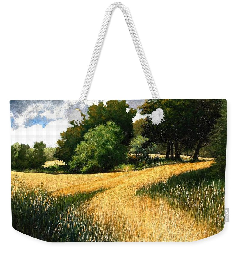 Landscape Weekender Tote Bag featuring the painting Nature Walk Ridgefield Washington by Jim Gola