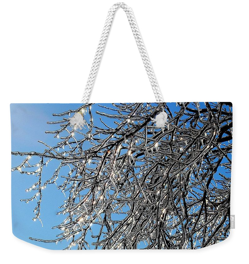 Crystal Weekender Tote Bag featuring the photograph Natures Crystal by Frozen in Time Fine Art Photography