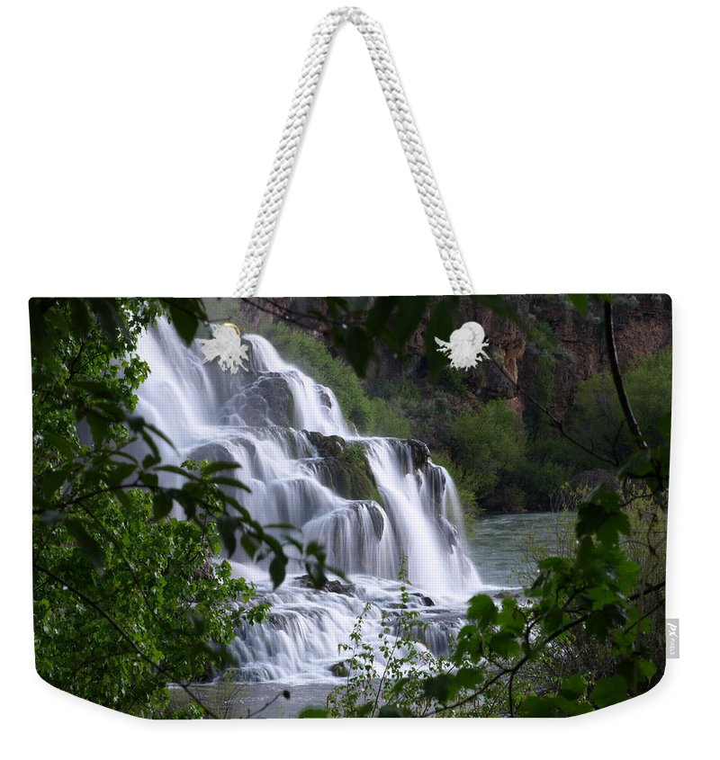 Water Weekender Tote Bag featuring the photograph Nature's Framed Waterfall by DeeLon Merritt
