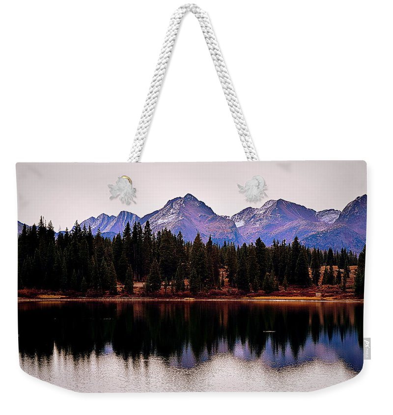 Mountains Weekender Tote Bag featuring the digital art Natures Peace by Charlotte McIlrath