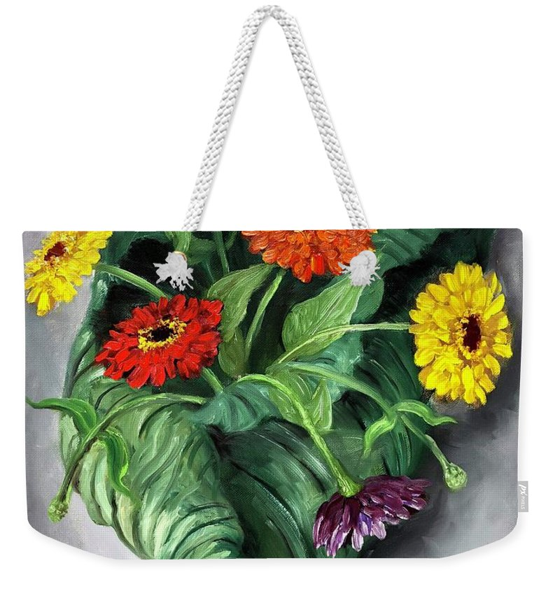 Flowers Weekender Tote Bag featuring the painting Nature's Vase by Randy Burns