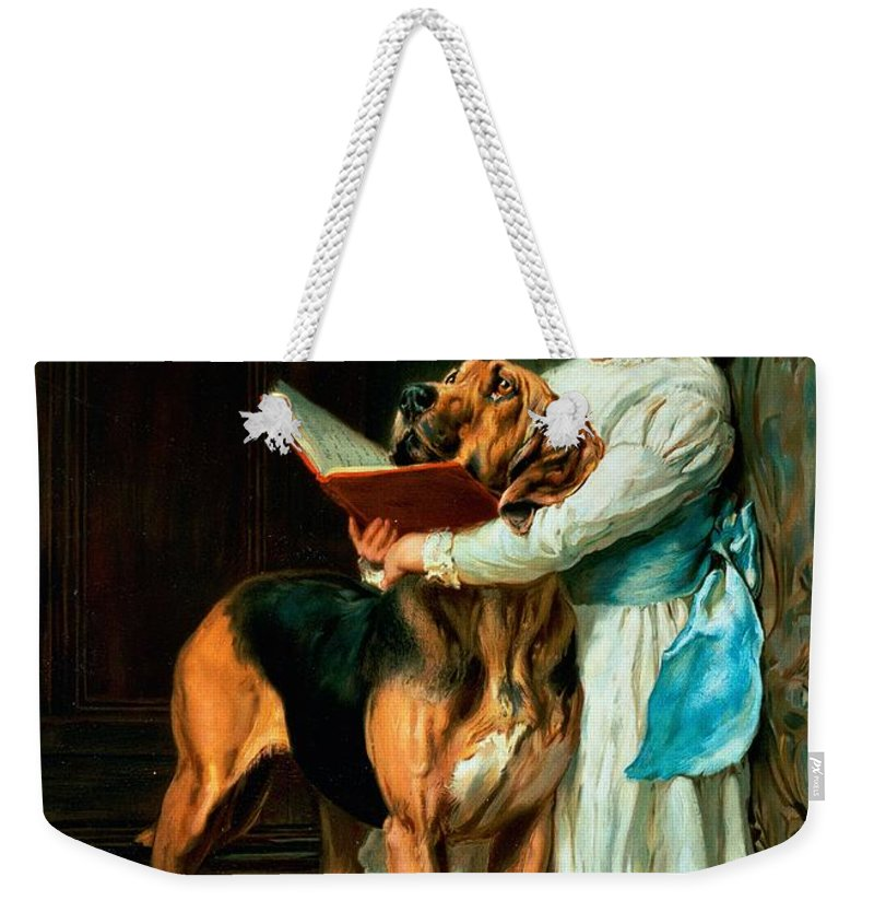 Naughty Weekender Tote Bag featuring the painting Naughty Boy Or Compulsory Education by Briton Riviere