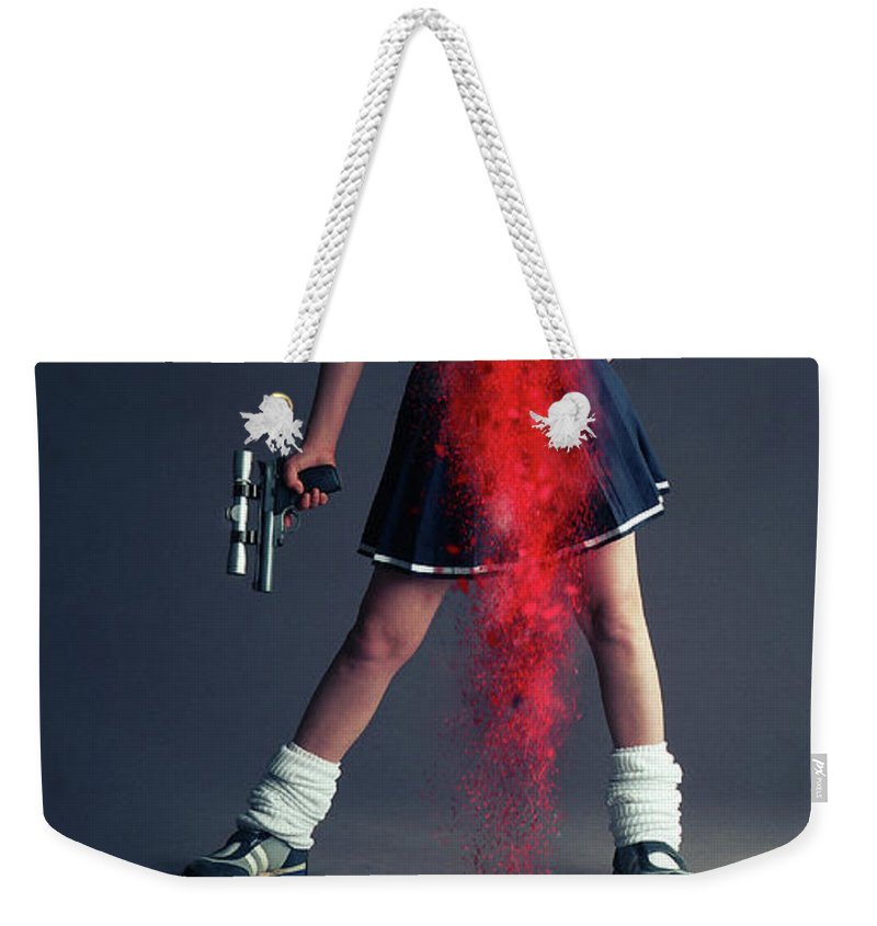 Schoolgirl Weekender Tote Bag featuring the photograph Naughty Schoolgirl by Smart Aviation