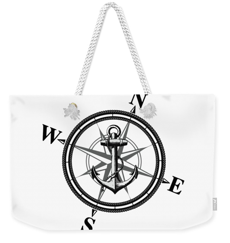 Anchor Weekender Tote Bag featuring the digital art Nautica Bw by Nicklas Gustafsson