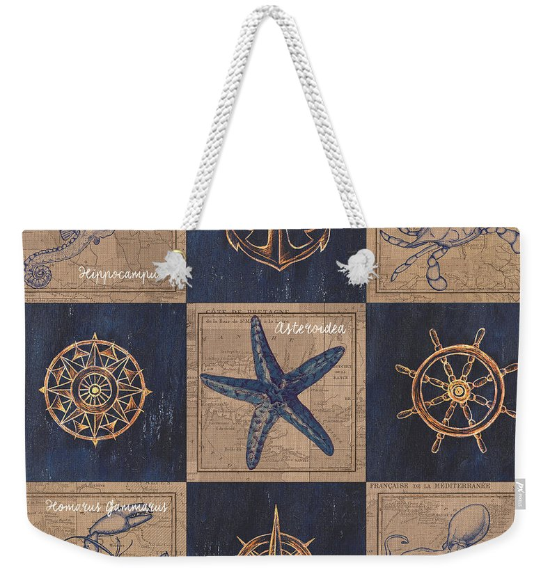Seahorse Weekender Tote Bag featuring the mixed media Nautical Burlap by Debbie DeWitt