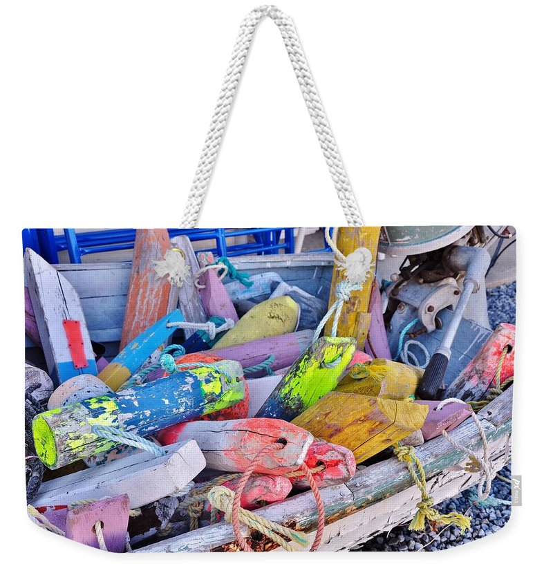 Float Weekender Tote Bag featuring the photograph Nautical Riot Of Color by Kim Bemis