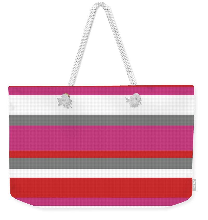 Nautical Stripes Weekender Tote Bag featuring the digital art Nautical Stripes by Saadana Shanmukam