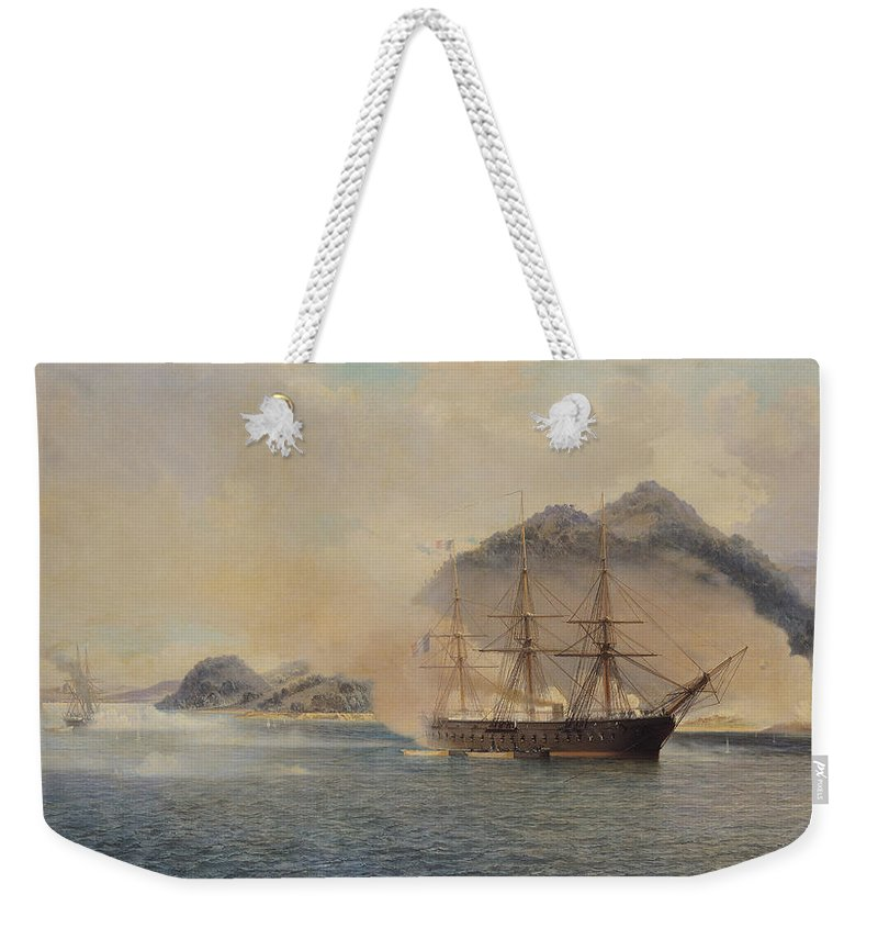 Naval Weekender Tote Bag featuring the painting Naval Battle Of The Strait Of Shimonoseki by Jean Baptiste Henri Durand Brager