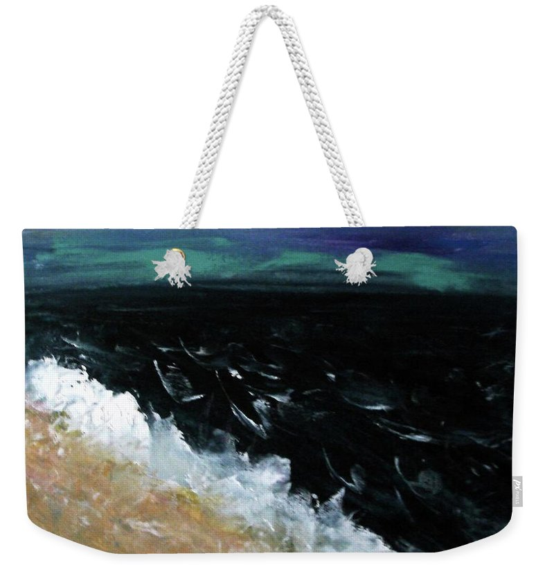 Weekender Tote Bag featuring the painting Navy Blue Ocean by Martha Dolan