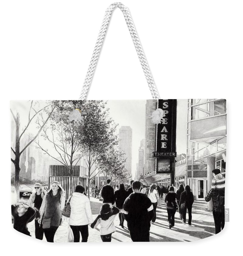 Navy Pier Weekender Tote Bag featuring the drawing Navy Pier by Andrey Poletaev