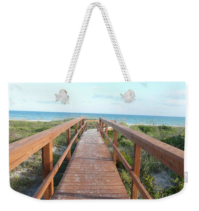 Boardwalk Weekender Tote Bag featuring the photograph Nc Beach Boardwalk by Barb Montanye Meseroll