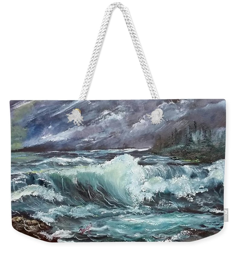 Seascape Weekender Tote Bag featuring the painting New England Coastline by Jacqueline Whitcomb