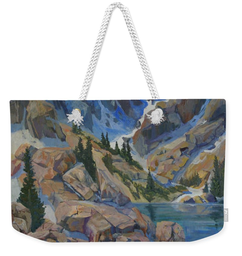 Hayden Spires Weekender Tote Bag featuring the painting Near Hayden Spires by Heather Coen