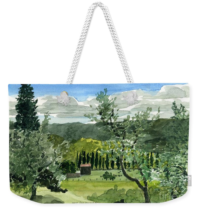 Watercolor Weekender Tote Bag featuring the painting Near San Giovanalle Tuscany by Robert Bowden