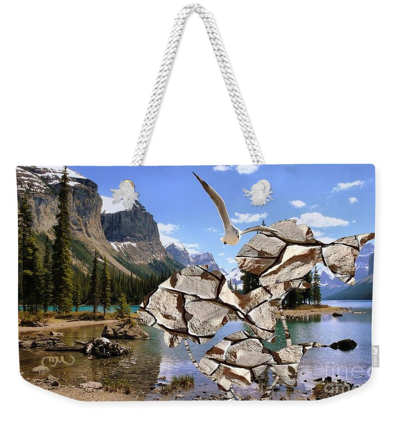 Modern Painting Weekender Tote Bag featuring the mixed media Near The Lake In The Mountain 2 by Pemaro