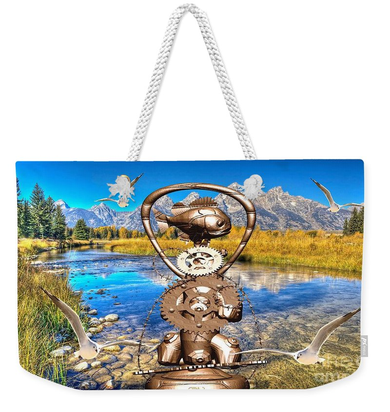 Modern Painting Weekender Tote Bag featuring the digital art Near The Lake In The Mountain 4 by Pemaro