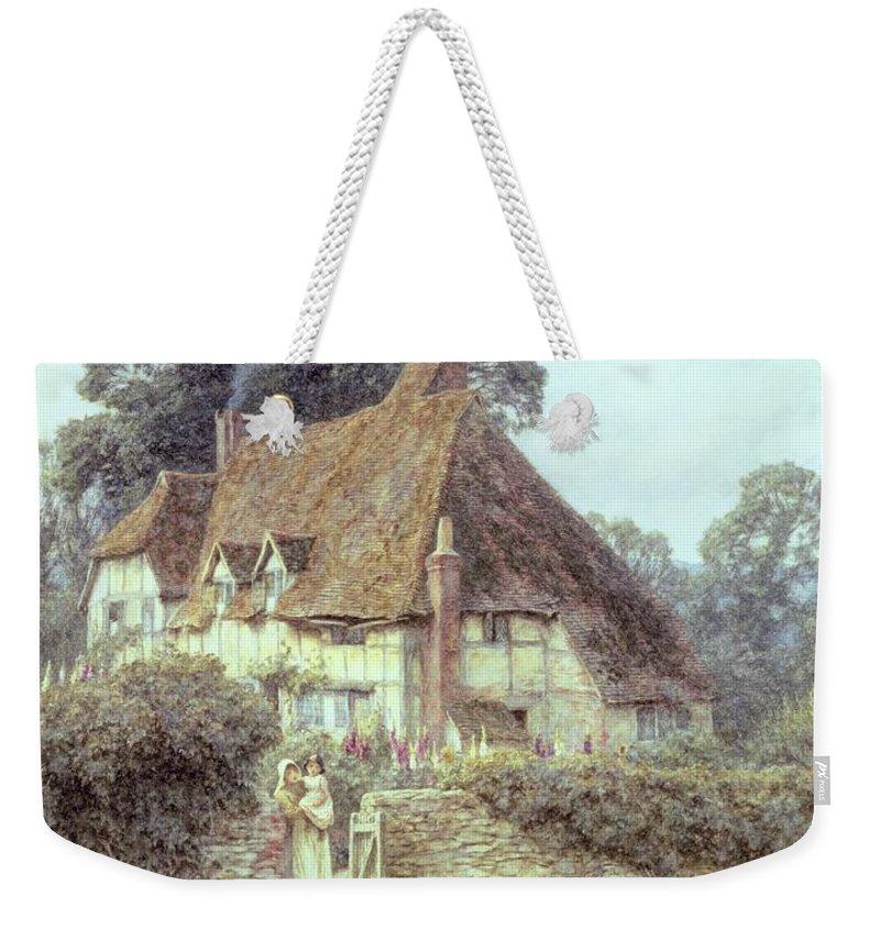 Cottage; Mother And Child; Gate; Rural Scene; Country; Countryside; Home; Path; Garden; Wildflowers; Chicken; Roses; Picturesque; Idyllic; Daughter; Timber Frame; Half-timbered; House; Female Weekender Tote Bag featuring the painting Near Witley Surrey by Helen Allingham