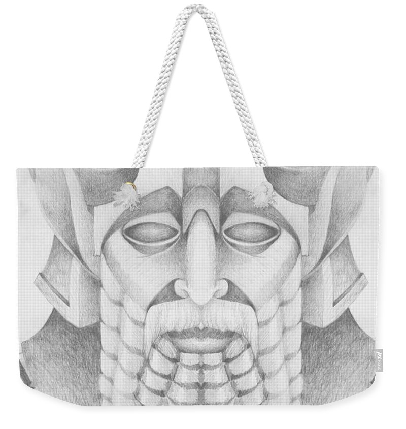 Babylonian Weekender Tote Bag featuring the drawing Nebuchadezzar by Curtiss Shaffer