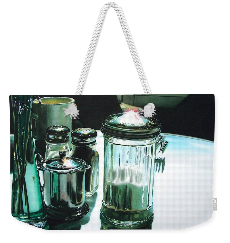 Still Life Weekender Tote Bag featuring the painting Necessities by Denny Bond
