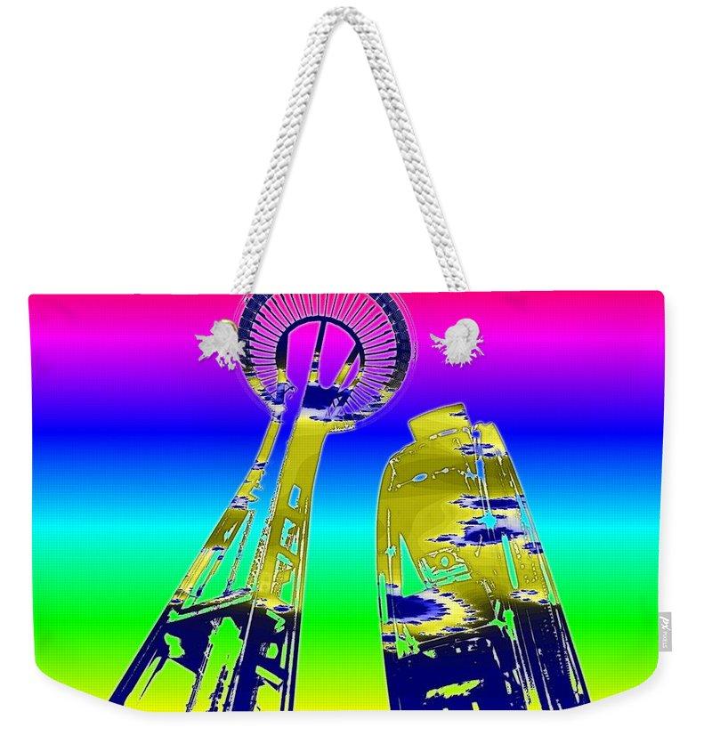 Seattle Weekender Tote Bag featuring the digital art Needle And Ferris Wheel Fractal by Tim Allen