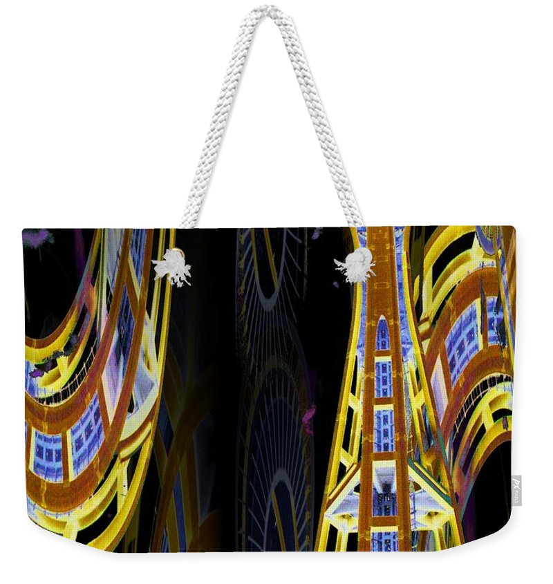 Seattle Weekender Tote Bag featuring the digital art Needle And Ferris Wheel by Tim Allen