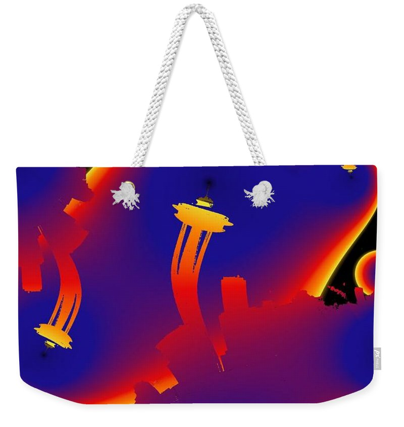 Seattle Weekender Tote Bag featuring the digital art Needle From Kerry Park by Tim Allen