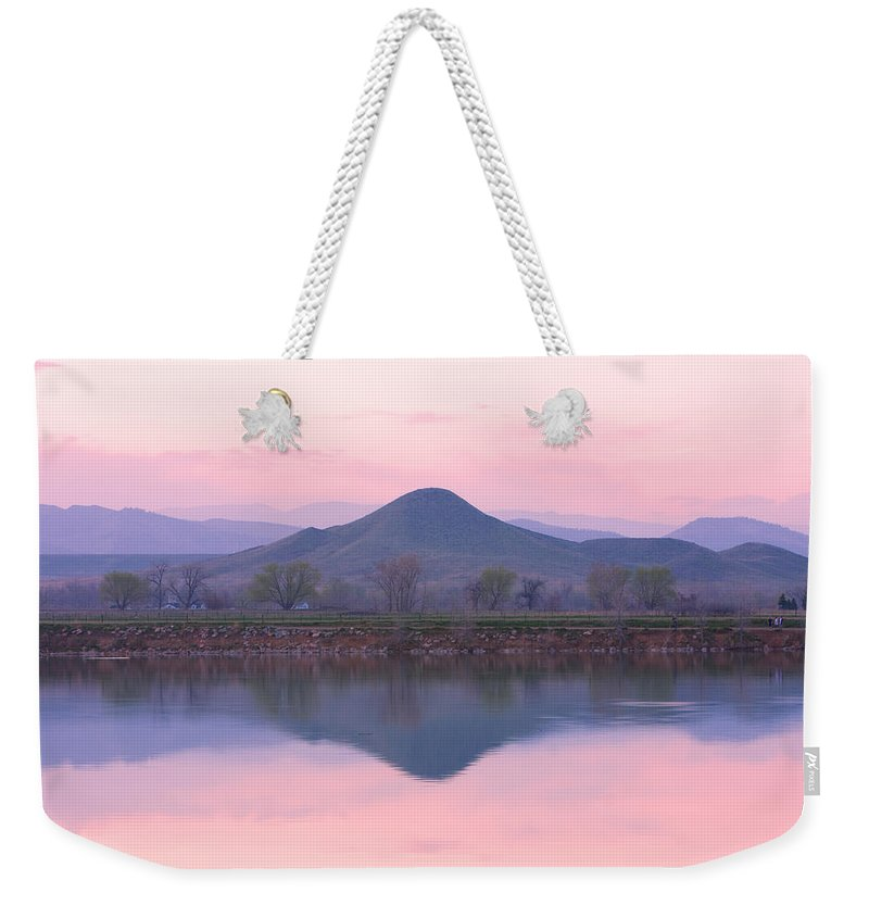 Refections; Boulder County; Boulder; Coot Lake; Nature Photography; Naturephotography; Landscape; Landscapephotography; Water; Lakes; Color; Nature Photography; Nature; Galleries; Gallery; Landscape; Scenic; Stock Images; Fine Art Print; Canvas Print Weekender Tote Bag featuring the photograph Needle In A Haystack Mountain by James BO Insogna