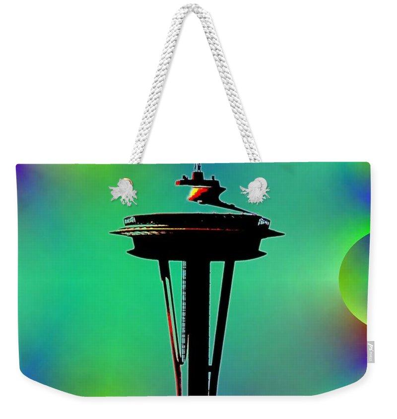 Seattle Weekender Tote Bag featuring the digital art Needle In Fractal 3 by Tim Allen