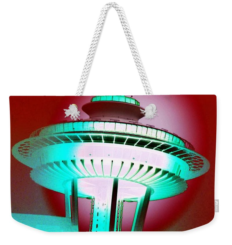 Seattle Weekender Tote Bag featuring the photograph Needle In Red by Tim Allen