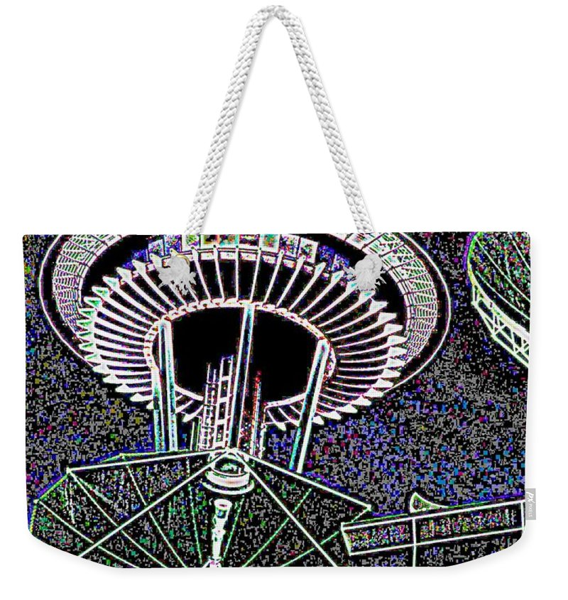Seattle Weekender Tote Bag featuring the digital art Needle Over Fisher Plaza by Tim Allen