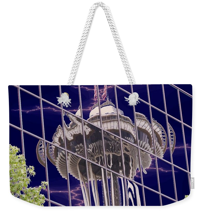 Seattle Weekender Tote Bag featuring the digital art Needle Reflection by Tim Allen