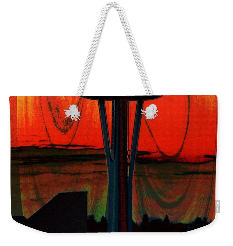 Seattle Weekender Tote Bag featuring the photograph Needle Silhouette 2 by Tim Allen