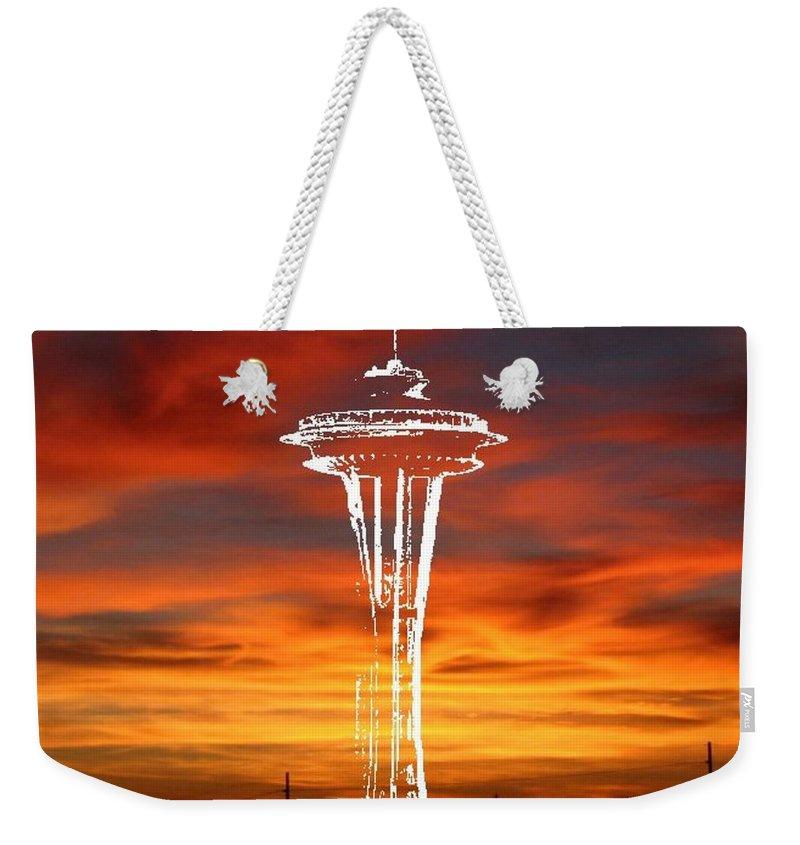 Seattle Weekender Tote Bag featuring the digital art Needle Silhouette by Tim Allen