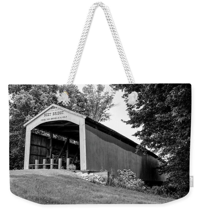 Neet Weekender Tote Bag featuring the photograph Neet Covered Bridge by Margie Wildblood