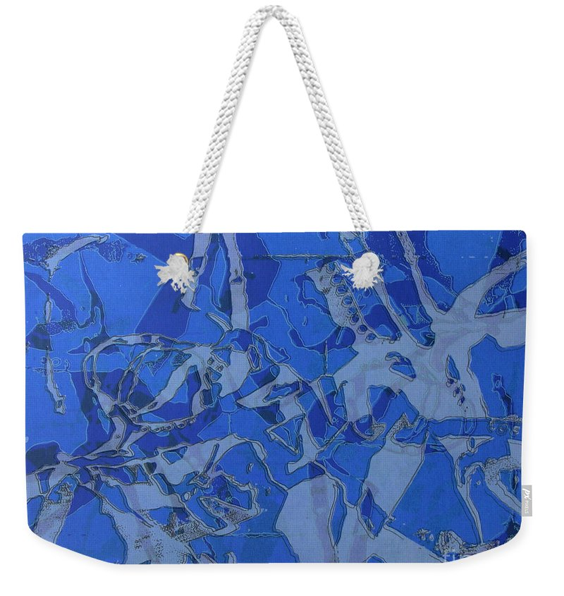 Silkscreen Weekender Tote Bag featuring the digital art Negative Photo Silkscreen by Ron Bissett
