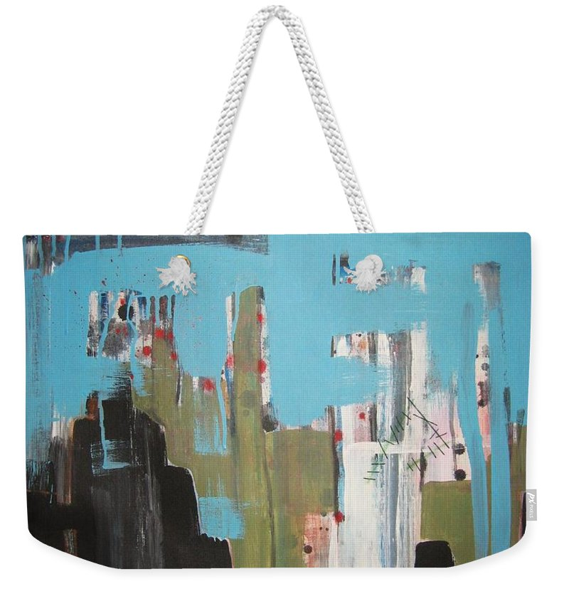 Abstract Paintings Weekender Tote Bag featuring the painting Neglected Area by Seon-Jeong Kim