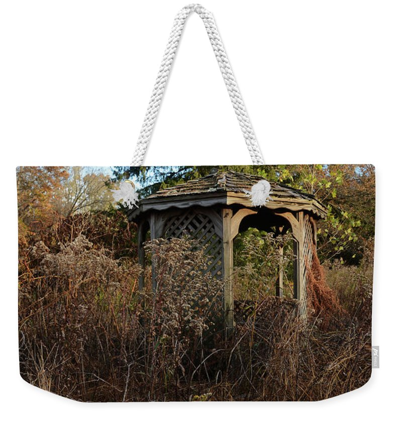 Nature Weekender Tote Bag featuring the photograph Neglected Old Gazebo by Stacy Zelle