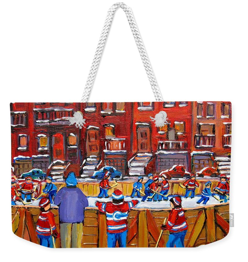 Hockeygame At The Neighborhood Rink Weekender Tote Bag featuring the painting Neighborhood Hockey Rink by Carole Spandau