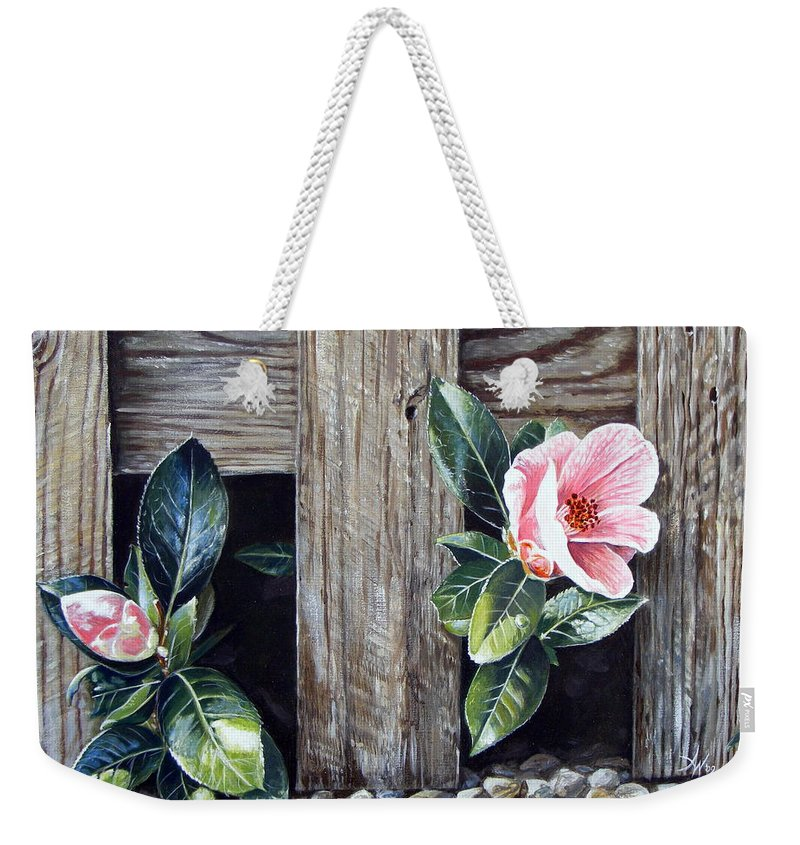 Flower Pink Acrylics Neighbours Fence Wood Leaves Weekender Tote Bag featuring the painting Neighbours by Arie Van der Wijst