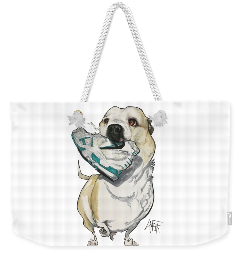 Pet Portrait Weekender Tote Bag featuring the drawing Nelson 3226 by John LaFree