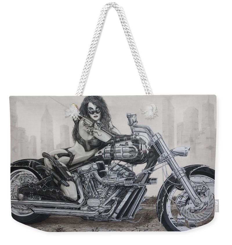 Bike Weekender Tote Bag featuring the drawing Nemesis by Kristopher VonKaufman