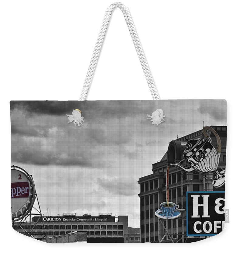 Roanoke Weekender Tote Bag featuring the photograph Neon Architecture Roanoke Virginia by Teresa Mucha