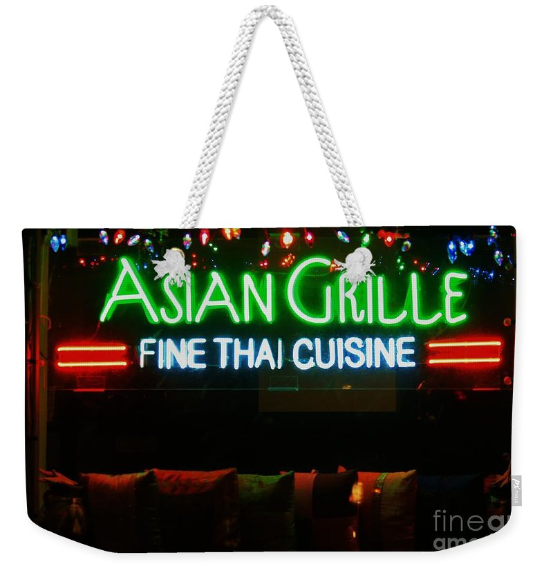 Neon Weekender Tote Bag featuring the photograph Neon Asian Grille by Douglas Sacha