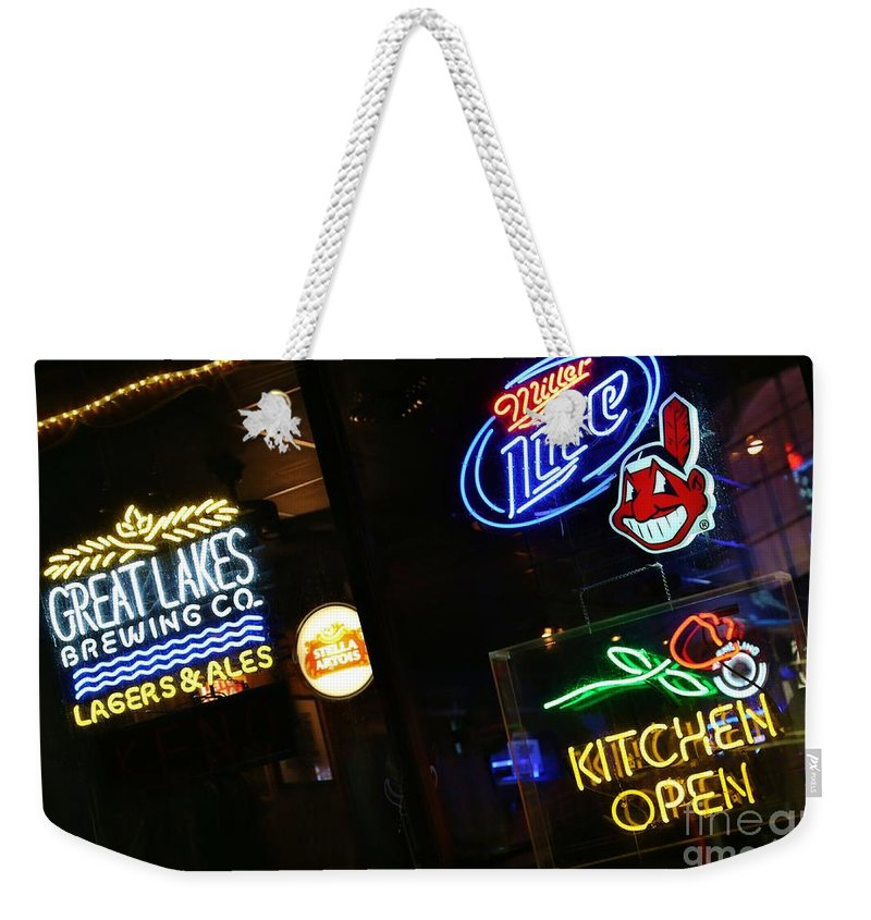 Neon Weekender Tote Bag featuring the photograph Neon Bar Signs by Douglas Sacha
