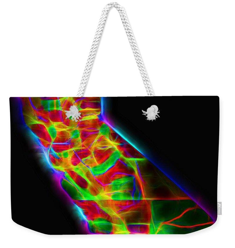 Neon California State Map Weekender Tote Bag featuring the digital art Neon California State Map by Dan Sproul
