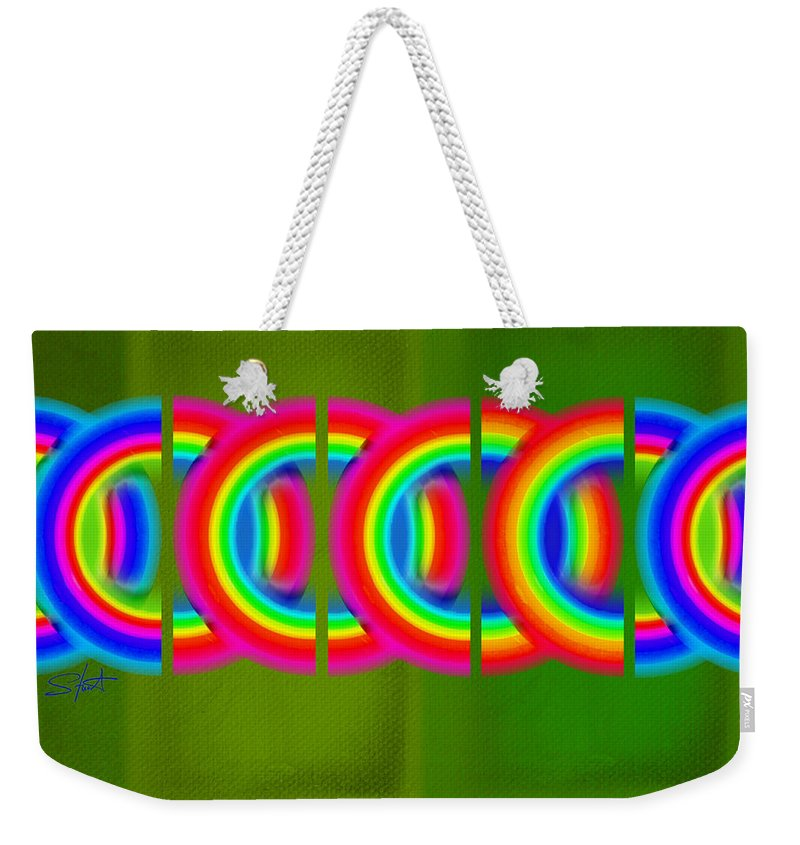 Abstract Weekender Tote Bag featuring the painting Neon Chain by Charles Stuart