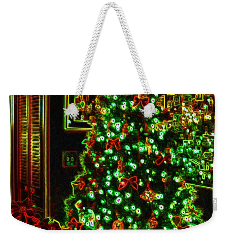 Christmas Weekender Tote Bag featuring the photograph Neon Christmas Tree by Nancy Mueller